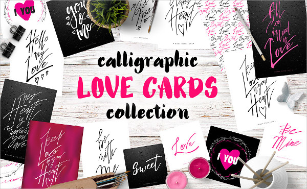 Calligraphy Love Cards