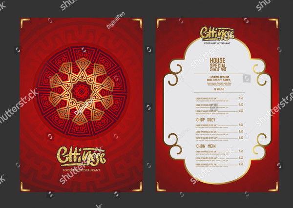 Branding China Food Restaurant Menu Template