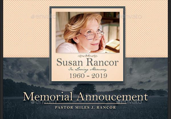 Classic Funeral Announcement Design