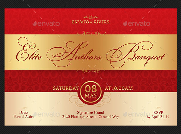 Elegant Banquet Invitation Postcard Template