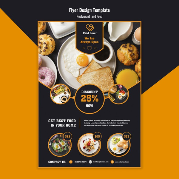 Free PSD Modern Flyer Template for Breakfast Restaurant