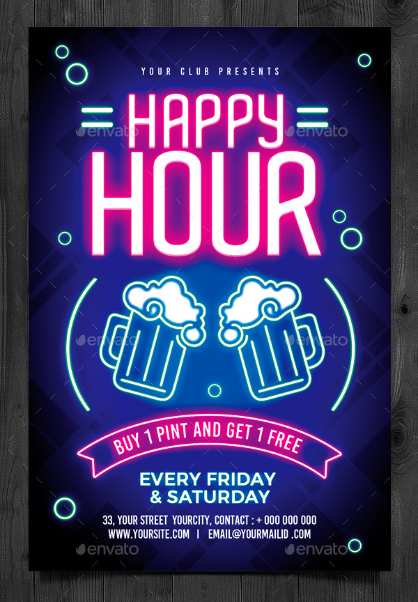 Happy Hour And Neon Party Flyer