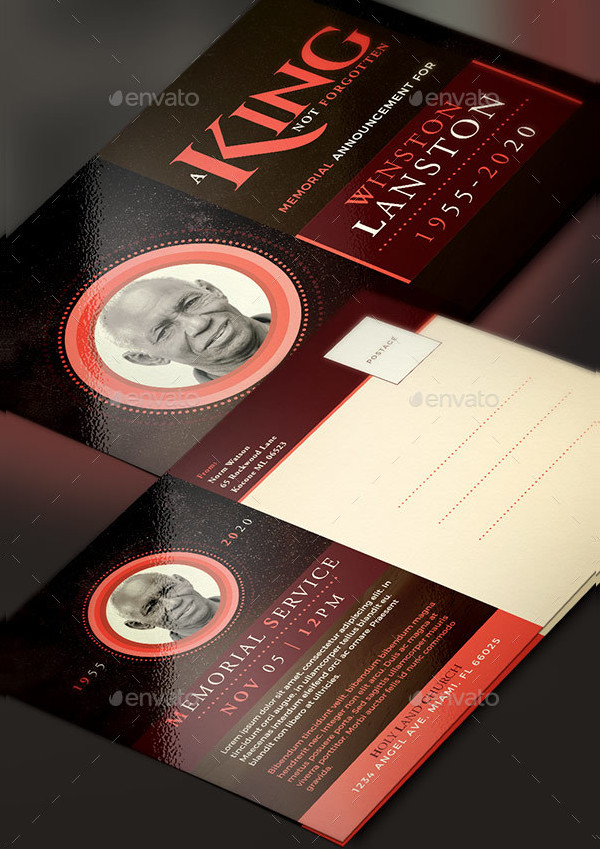 King Funeral Announcement Card Template