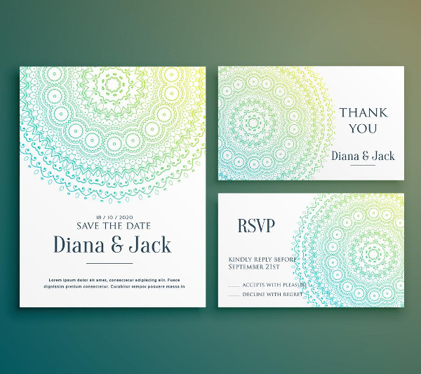 Wedding Invitation & Greeting Card Design With Beautiful Decoration Free Download