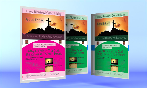Attractive Good Friday Flyers Design