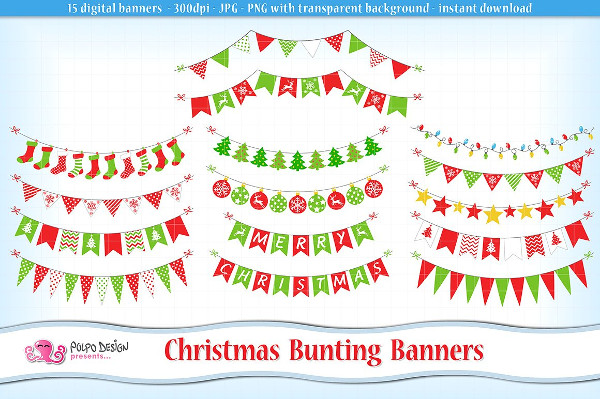 Christmas Bunting Banners Clipart