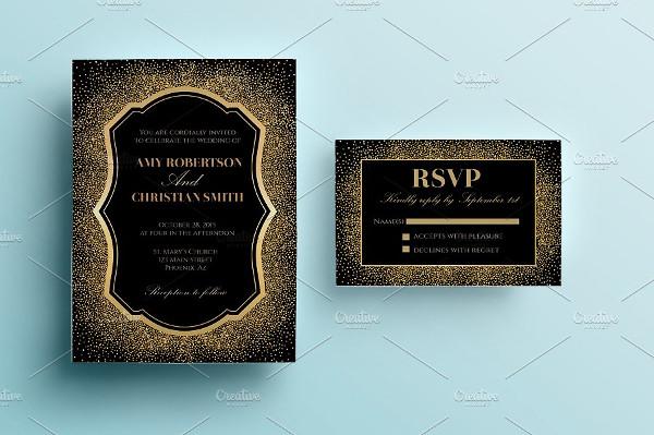 Classic Gold Glitter Wedding Invitation