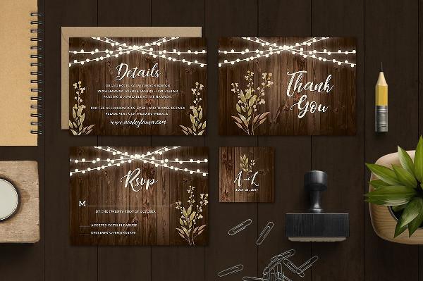 Classic Rustic Wedding Invitation Template
