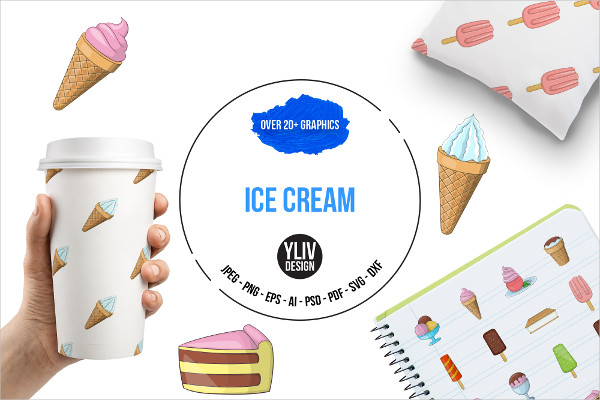 Ice Cream Icon Set in Cartoon Style