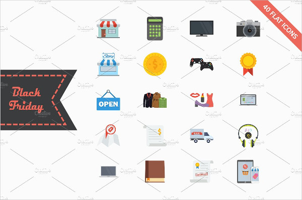 40 Colorful Flat Icons for this Black Friday Sale