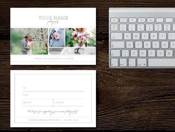 Fully Editable Photography Gift Card Templates