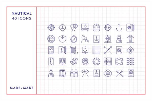 40 Unique Nautical Vector Line Icons