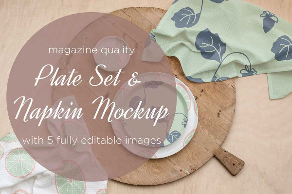 Fully Editable Plate & Napkin Mock-up