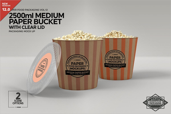 Medium Paper Bucket Clear Lid Mock-up