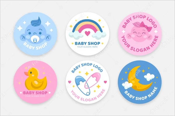 Set of Cute Baby Logos Template Free Download
