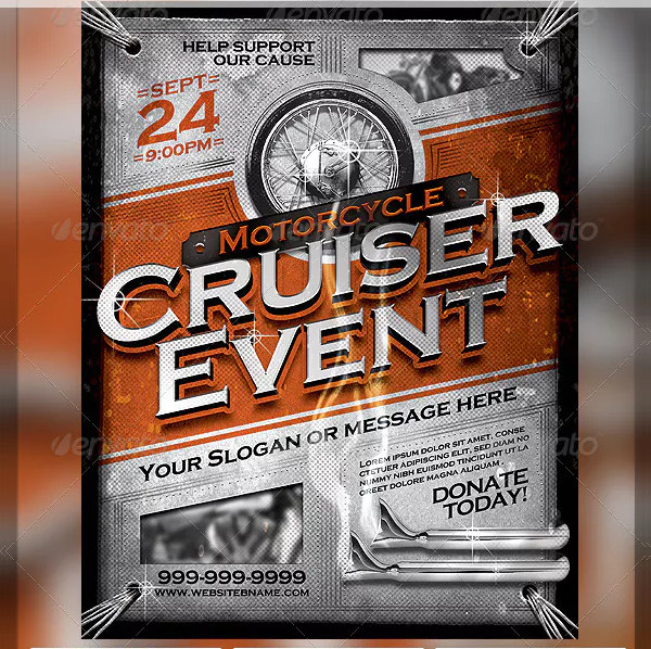 Vintage Motorcycle Cruiser Flyer PSD