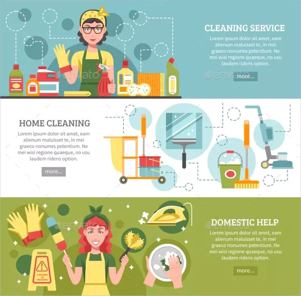 Home Cleaning Service Banner Set