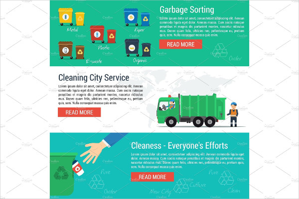 Three Horizontal Banners for Cleaning City Service