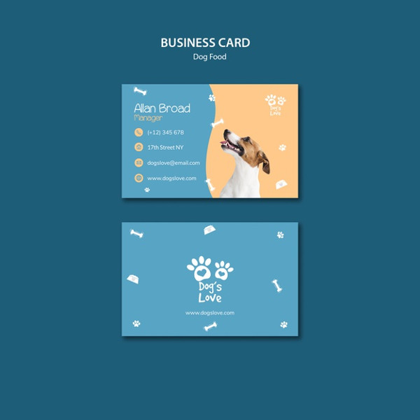 Business Card Template with Dog food Free PSD