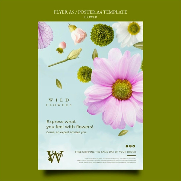 Free PSD Flower Store Poster Design Download