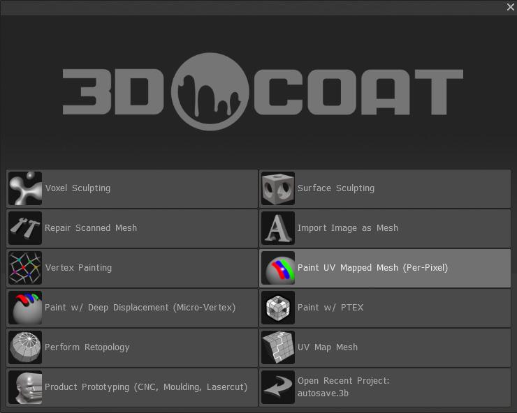 PBR texturing in 3D Coat Tutorial - Start Splash Screen