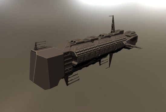 Some parts of this ship were modelled using primitives in 3d coat