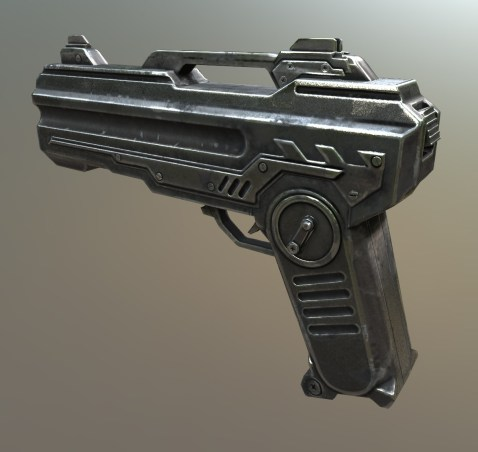Sci-Fi pistol in 3D-Coat