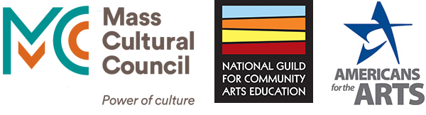 Logos of the Creative Youth Development National Partnership - Mass Cultural Council, National Guild for Community Arts Education, and Americans for the Arts