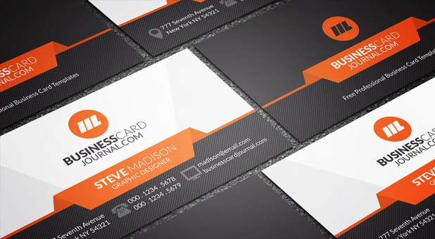 Sleek & Stylish Orange Accent Business Card Template