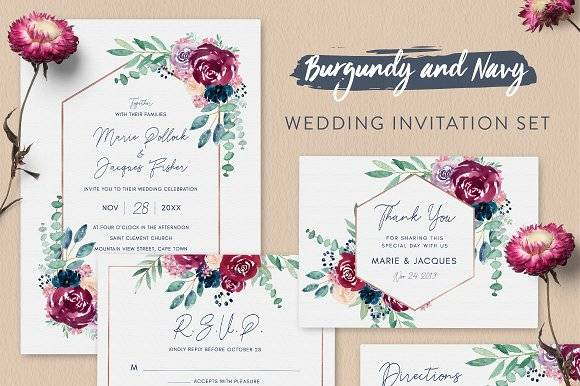 Burgundy Wedding Invitation Set