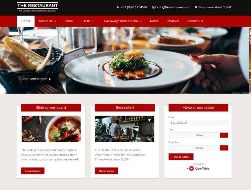The Restaurant wordpress themes