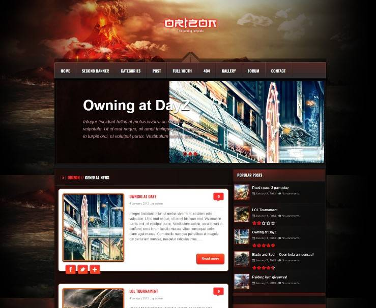 Orizon - The Gaming Template WP version