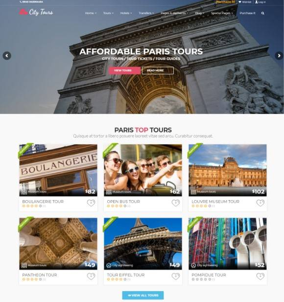 CityTours - Hotel & Tour Booking WordPress Theme