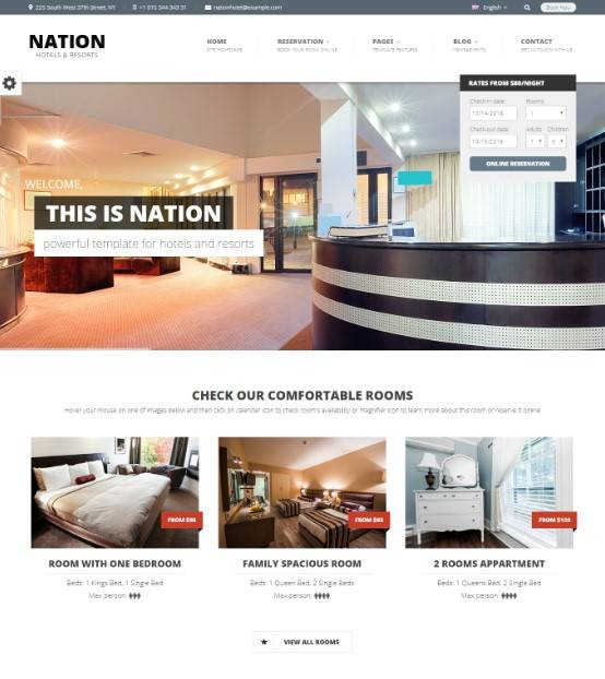 Nation Hotel - Responsive WordPress Theme