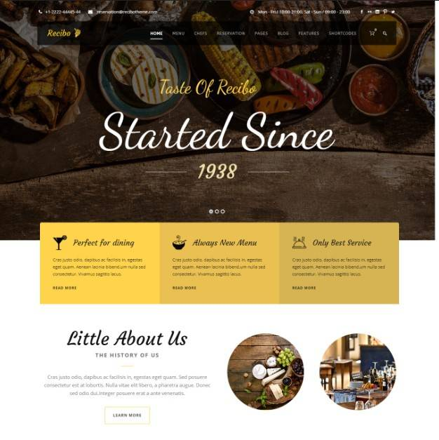 Recibo - Restaurant / Food / Cook WordPress Theme