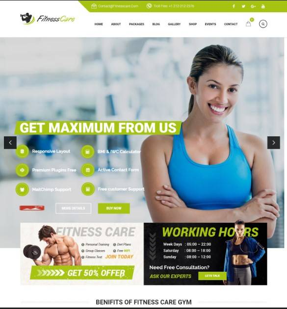 WordPress Theme for Sports, Gym, Yoga & Fitness Centers