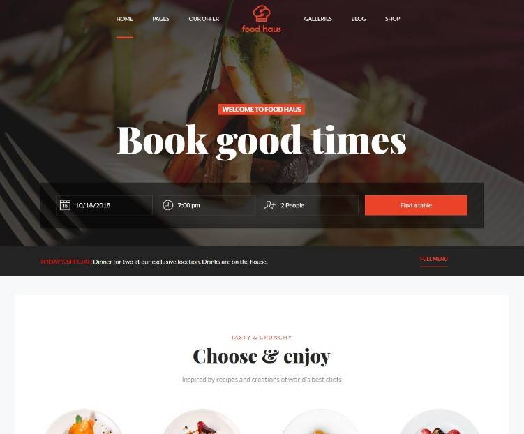 Food Haus Restaurant wordpress themes