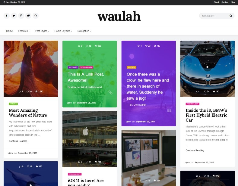 Waulah - Infinite Scroll Grid Style News Magazine and Blog WordPress Theme
