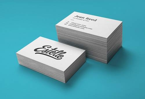 Stack Letterpress Business Cards MockUp PSD