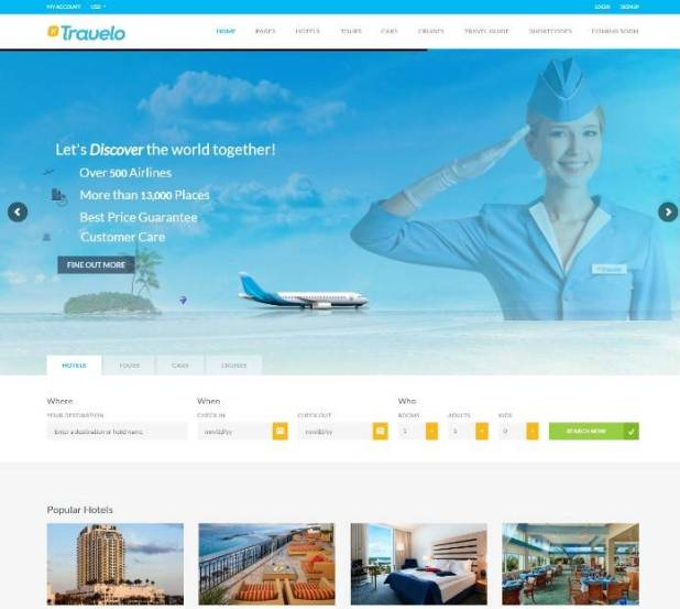 Travelo - Travel/Tour/Car Rental/Cruise Booking WordPress Theme