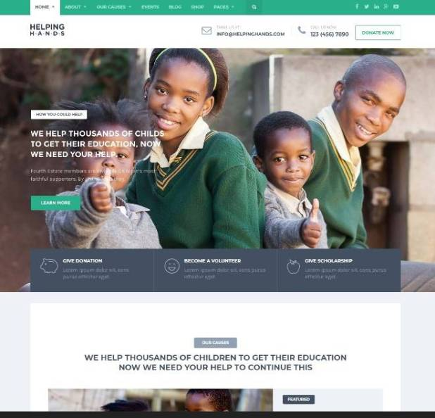 Charity WordPress Theme - Fundraising, Church, NGO, Non Profit | HelpingHands