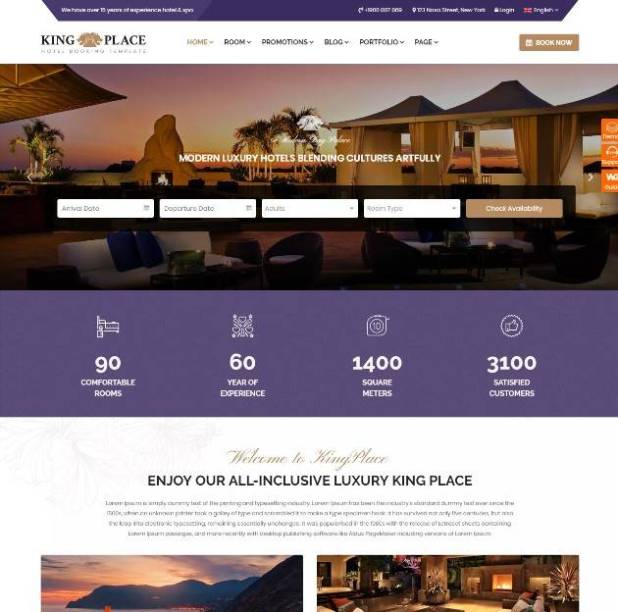 KingPlace - Luxury Hotel, Resort & Spa Booking WordPress Theme