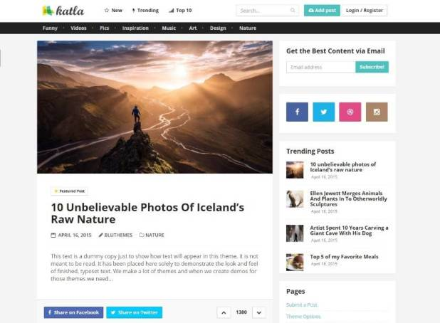 Katla - User Generated Content Theme
