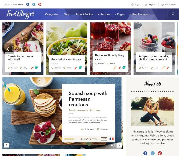 Food Blog - WordPress theme for personal food recipe blog