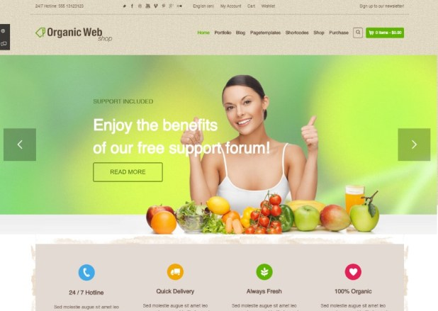 Organic Web Shop - An Organic and Responsive WooCommerce Food, Farn and Eco Theme