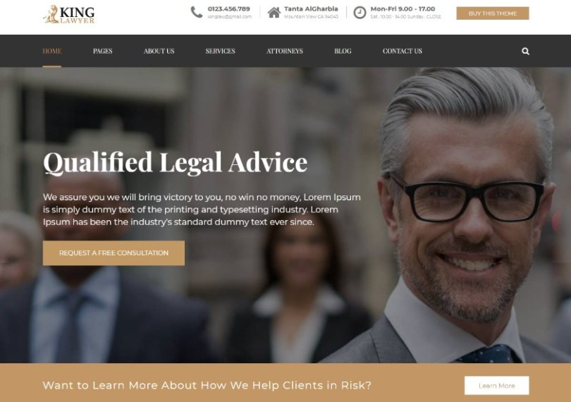 Kinglaw - Attorney & Lawyer WordPress Theme