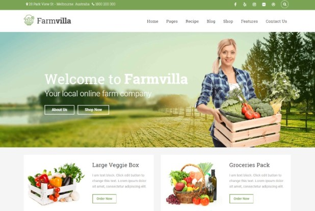 Farmvilla - Organic Food WordPress Theme