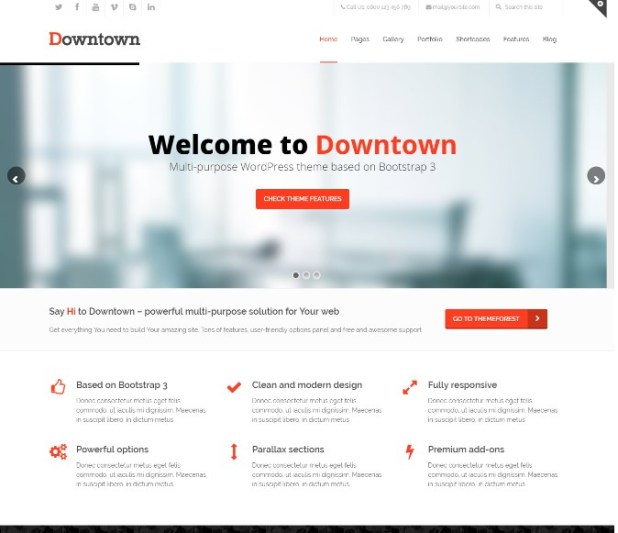 Downtown - WordPress Multi-Purpose Bootstrap Theme