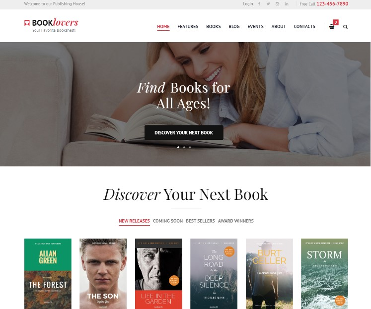 Booklovers - Publishing House & Book Store WordPress Theme