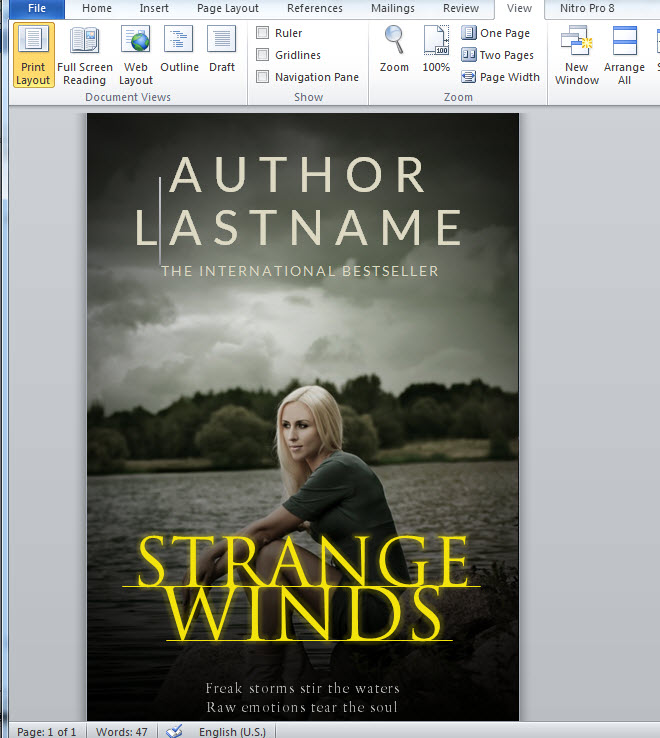 How To Make A Full Print Book Cover In Microsoft Word For Createspace Lulu Or Lightning Source